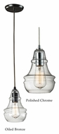 Landmark Menlow Park 9 Inch Tall Ribbed Glass Mini Lighting Pendant With Finish Options
