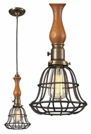 Landmark 65137-1 Spun Wood 16 Inch Tall Vintage Brass Mini Pendant Lamp