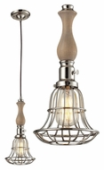 Landmark 65147-1 Spun Wood Contemporary Polished Nickel Mini Drop Ceiling Light Fixture