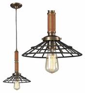 Landmark 65138-1 Spun Wood 14 Inch Tall Vintage Brass Mini Pendant Lamp