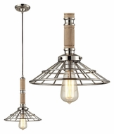 Landmark 65148-1 Spun Wood Mini Polished Nickel Hanging Light Fixture