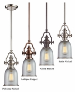 Landmark Chadwick Clear Ribbed Glass 7 Inch Diameter Mini Pendant Lamp