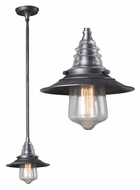 Landmark 66827-1 Insulator Glass 9 Inch Diameter Weathered Zinc Mini Drop Lighting Fixture