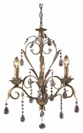 Landmark 08083-WS Angelite 3 Candle Weathered Silver Mini Chandelier Lighting Fixture
