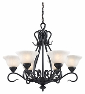 Landmark 256-BK Buckingham Matte Black 6 Lamp Traditional Chandelier Lighting Fixture