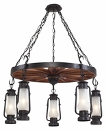 Landmark 65007-5 Chapman 5 Lamp Matte Black Lantern Chandelier Lighting