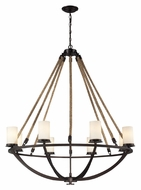ELK 63043-8 Natural Rope Large 41 Inch Diameter Rustic Aged Bronze Lighting Chandelier