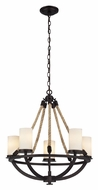 Landmark 63041-5 Natural Rope 25 Inch Diameter Aged Bronze Chandelier Lighting Fixture