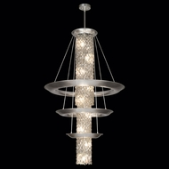 Fine Art 813340 Celestial Large 67 Inch Tall 3 Tier Pendant Lighting Fixture - Silver Leaf