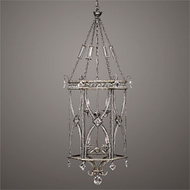 Fine Art 326540 Winter Palace 8 Lamp Crystal 57 Inch Tall Antiqued Silver Pendant Lamp