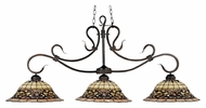 Landmark 348-VA Tiffany Buckingham 3 Lamp Vintage Antique Finish Kitchen Island Light