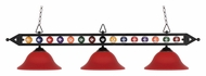 Landmark 190-1-BK-G10BU 58 Inch Wide Matte Black Red Glass Billiards Light