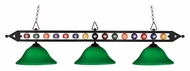 Landmark 190-1-BK-G10GR Green Glass 58 Inch Wide 3 Lamp Billiard Island Lighting
