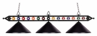 Landmark 190-1-BK-M Black Glass 3 Lamp Billiards Island Lighting Fixture