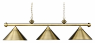 Landmark 168-TB Casual Traditions Antique Brass Finish 3 Lamp Island Light - 51 Inches Wide