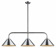 Landmark 73044-3 Gameroom Transitional 3 Lamp Polished Chrome Island Light - 55 Inches Wide