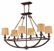 Landmark 63019-6 Natural Rope Aged Bronze 6 Lamp Island Lighting