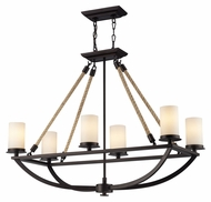 Landmark 63018-6 Natural Rope Rustic 35 Inch Wide 6 Lamp Island Light