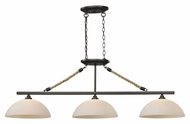 Landmark 73045-3 Natural Rope 3 Lamp aged Bronze Dome Shade Island Lighting
