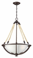 ELK 63013-3 Natural Rope Small Inverted Aged Bronze Pendant Lighting Fixture
