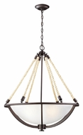 ELK 63014-4 Natural Rope Large 26 Inch Diameter Aged Bronze Hanging Light Fixture