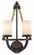 Landmark 63040-2 Natural Rope 2 Lamp 19 Inch Tall Aged Bronze Sconce Lighting