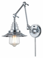 Landmark 66806-1 Insulator Glass Swing Arm Polished Chrome Vintage Wall Lamp - 18 Inches Tall