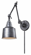 Landmark 66825-1 Insulator Glass Vintage Swing Arm 18 Inch Tall Weathered Zinc Wall Lamp