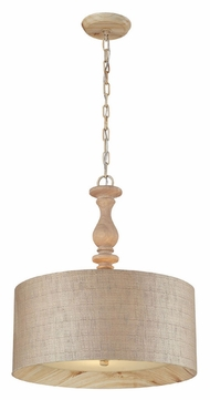 ELK 14161/3 Nathan 20 Inch Diameter Washed Pine Drum Pendant With Finial