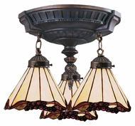 Landmark 997-AW-03 Mix-N-Match 14 Inch Diameter Aged Walnut 3 Lamp Ceiling Light