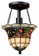 Landmark 70021-1 Tiffany Buckingham Semi Flush Mount Tiffany Ceiling Light With LED Option