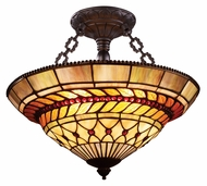 Landmark 70086-3 Glass Leaf 3 Lamp Semi Flush Tiffany Bronze Ceiling Lighting