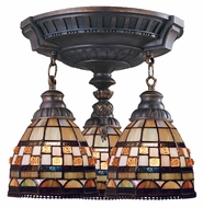 Landmark 997-AW-10 Mix-N-Match 3 Lamp Aged Walnut Finish Tiffany Ceiling Lighting Fixture