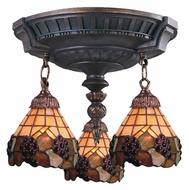Landmark 997-AW-07 Mix-N-Match Aged Walnut 14 Inch Diameter 3 Lamp Ceiling Light