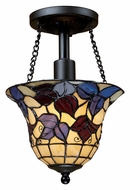 Landmark 70091-1 Semi Flushes Tiffany Art Glass 11 Inch Tall Ceiling Light Fixture