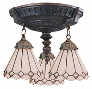 ELK 997-AW-04 Mix-N-Match 3 Lamp Aged Walnut White Shade Ceiling Lighting Fixture