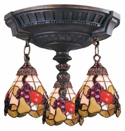 Landmark 997-AW-19 Mix-N-Match Aged Walnut 14 Inch Diameter 3 Lamp Ceiling Lighting - Tiffany