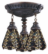 Landmark 997-AW-20 Mix-N-Match Tiffany Art Glass Aged Walnut Flush Lighting Fixture