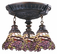 ELK 997-AW-28 Mix-N-Match Tiffany 14 Inch Diameter Aged Walnut 3 Lamp Ceiling Light