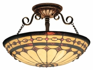 Landmark 641-BC Diamond Ring Burnished Copper Semi Flush 16 Inch Diameter Ceiling Light