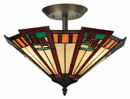 Landmark 70116-3 Oak Bridge Tiffany 16 Inch Diameter Semi Flush Mount Lighting