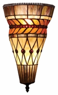 Landmark 70084-2 Glass Leaf 14 Inch Tall Tiffany Bronze Pocket Wall Sconce Lighting