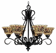 Landmark 366-VA Tiffany Buckingham 6 Lamp Vintage Antique 28 Inch Diameter Chandelier Light