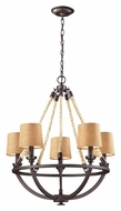 Landmark 63015-5 Natural Rope Rustic 5 Lamp Aged Bronze Chandeleir With Shades
