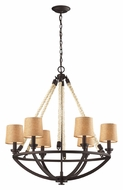 ELK 63016-6 Natural Rope Aged Bronze Rustic Medium Chandelier Lighting