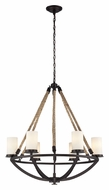 Landmark 63042-6 Natural Rope Small Aged Bronze 6 Lamp Rustic Chandelier Lighting Fixture