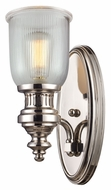 Landmark 66780-1 Chadwick Ribbed Glass Polished Nickel Wall Sconce Light