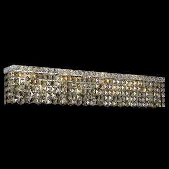 Elegant 2033W30C-GT-RC Maxim Medium 7-light Golden Teak Crystal Bathroom Vanity Light