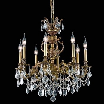 Elegant 9508D24FG-RC Marseille Medium 8-light French Gold Chandelier Lighting with Crystal