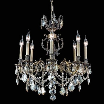 Elegant 9508D24AB-GS-RC Marseille 8-light Antique Bronze Champagne Crystal Chandelier